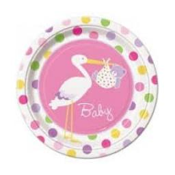 Pink Baby Shower Paper Party Plates 8pcs 9inch