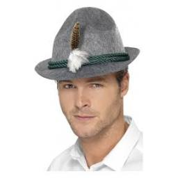 German Trenker Hat Grey with Feather