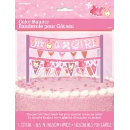 Pink Clothesline Baby Shower Cake Banner 6.5inch