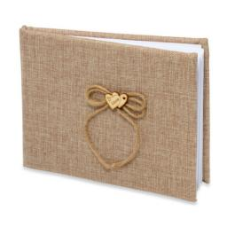 Rustic Style Hessian Burlap Wedding Guest Book
