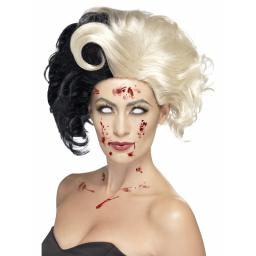 Evil Madame Wig Deluxe Black and Light Blonde
