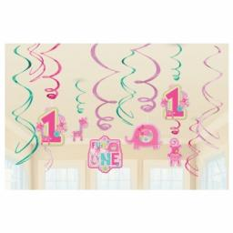One Wild Girl Hanging Swirls Decorations - 12 pcs