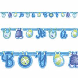 Jointed Baby Shower Banner Baby Clothesline Blue