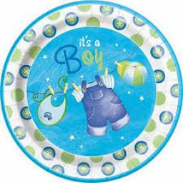 Clothesline 8 Baby Shower Blue Plates 9inch