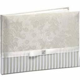 Natural Floral Fabric/Stripe Guest Book 25.5 x 18