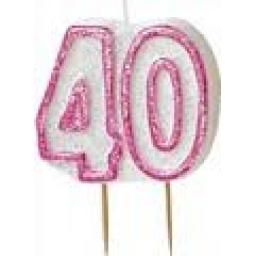 Glitz Pink 40 Numeral Candle
