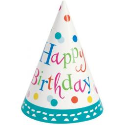 Birthday Party Confetti Paper Cone Hats 8ct