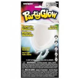 Party Glow 5 LED Balloons White 10in max