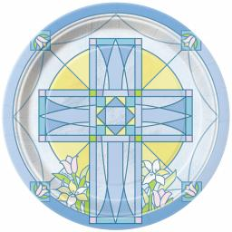 Sacred Cross Blue Paper Plates 8pcs