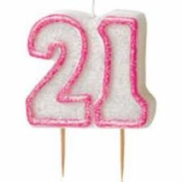 Glitz Pink 21 Numeral Candle