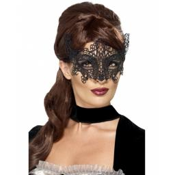 Embroidered Black Lace Filigree Swirl Eyemask