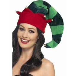 Plush Elf Hat Green with Bells