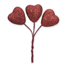 Glitter Hearts Red on Stem Red 24pcs Small