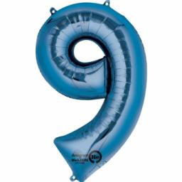 "Number 9 Blue SuperShape Foil Balloon - 23""/58cm w x 35""/88cm"