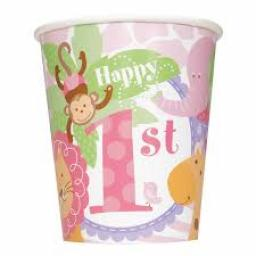 1st Birthday Girls Safari Pink Paper Cups 8ct 270m