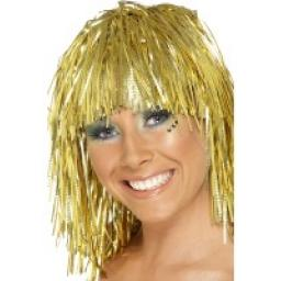 Cyber Tinsel Wig Gold Metalic