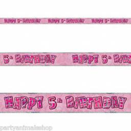 Pink Glitz Happy 5th Birthday Banner 3.6m