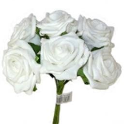Foam Rose Bunch White 6 heads 5.5cm