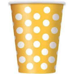 Sunflower Yellow Polka Dot Paper Party Cups x 6pc