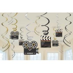 Hollywood Hanging Swirls Decorations 12pcs