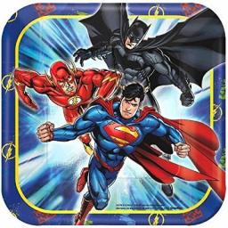 Justice League Square Paper Party Plates 18cm