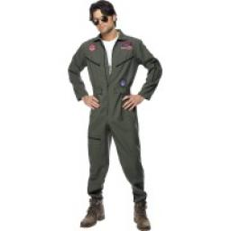 Top Gun Pilot Adult Jumpsuit Name Tag & Shades