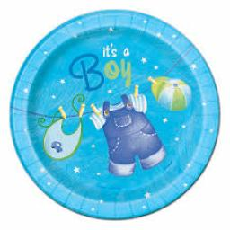 Clothesline 8 Baby Shower Blue Plates 7inch