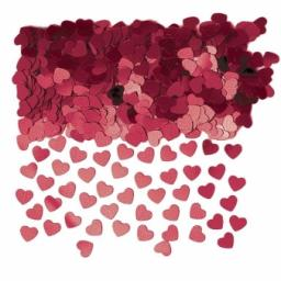 Burgundy Sparkle Hearts Metallic Confetti - 14g
