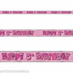 Pink Glitz Happy 8 th Birthday Banner 3.6M