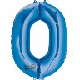 "Number 0 Blue SuperShape Foil Balloons 22""/55cm w x 35""/88cm"