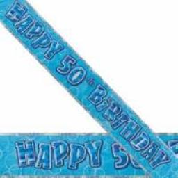 Blue Prizmatic H 50th Birthday Banner 3.6M