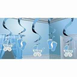 Baby Shower Hanging Swirl Decoration Blue 5pc