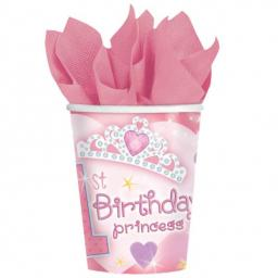 Paper Cups 266ml - 1st Birthday Princess