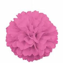 Puff Ball Paper Decoration 16 inch Pink