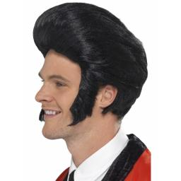 50s Quiff King Wig Black with Sideburns