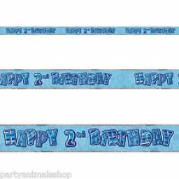 Blue Prizmatic H 2nd Birthday Banner 3.6m