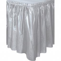 Plastic Silver Table Skirt 73cm x 426cm