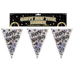 12ft Sparkly Happy New Year Flag Bunting Black + S