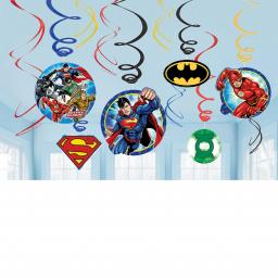 Justice League Swirl Decorations 12 pcs