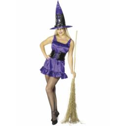 Sexy Witch Purple Costume with hat - Large
