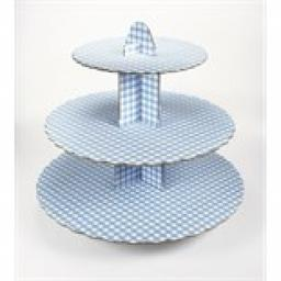 Three Tier Blue Gingham Cupcake Stand 13 x 14 inch