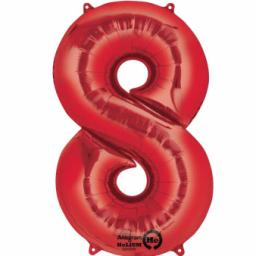 "Number 8 Red SuperShape Foil Balloon - 22""/55cm w x 35""/88cm"