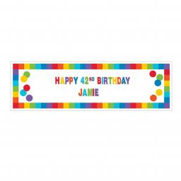 Primary Rainbow Happy Birthday Giant Customisable Banner Kit 1.65m x 50cm