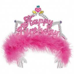 Fluffy Pink Happy Birthday Tiara