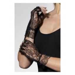 Fingerless Lace Gloves, Black