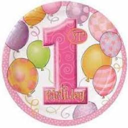 1st Birthday Pink Party Plates 17cm Pack of 8