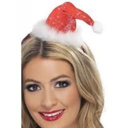 Mini Santa Hat on a Headband with a Pom Pom