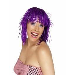 CYBER TINSEL WIG PURPLE METALLIC