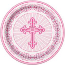 Radiant Cross Pink Paper Plates 8ct 17.1cm