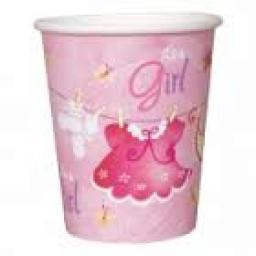 Pink Clothesline Baby Shower Paper Cups 8-9oz